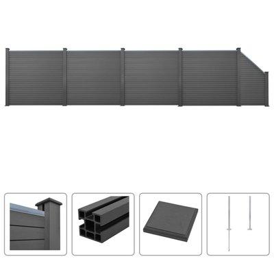 Schuttingset 4 vierkant en 1 schuin 799x187 cm HKC grijs