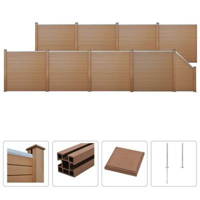 Schuttingset 8 vierkant en 1 schuin 1495x187 cm HKC bruin