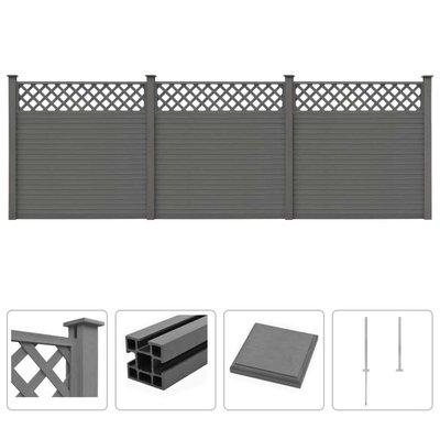 Schuttingset 3 vierkant 531x185 cm HKC grijs