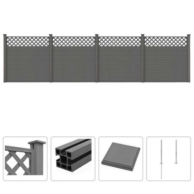 Schuttingset 4 vierkant 705x185 cm HKC grijs