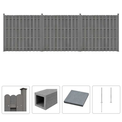 Schuttingset 3 vierkant 562x185 cm HKC grijs