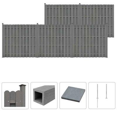 Schuttingset 5 vierkant 932x185 cm HKC grijs