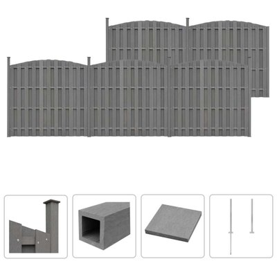 Schuttingset 5 gebogen 932x(165-185) cm HKC grijs