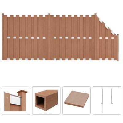 Schuttingset 2 vierkant en 1 schuin 472x185 cm HKC bruin