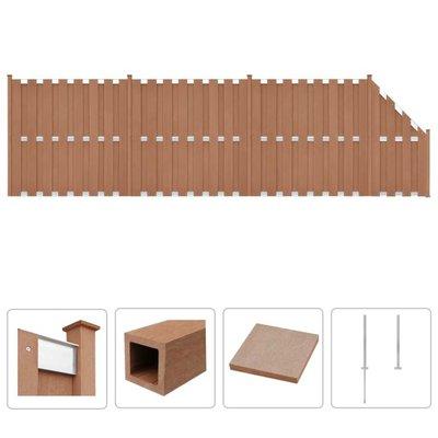 Schuttingset 3 vierkant en 1 schuin 657x185 cm HKC bruin