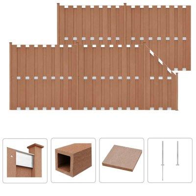 Schuttingset 4 vierkant en 1 schuin 842x185 cm HKC bruin