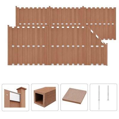 Schuttingset 5 vierkant en 1 schuin 1028x185 cm HKC bruin