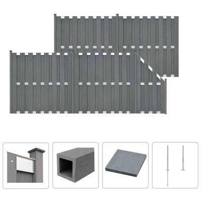 Schuttingset 4 vierkant en 1 schuin 842x185 cm HKC grijs