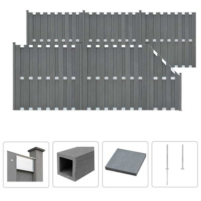 Schuttingset 5 vierkant en 1 schuin 1028x185 cm HKC grijs
