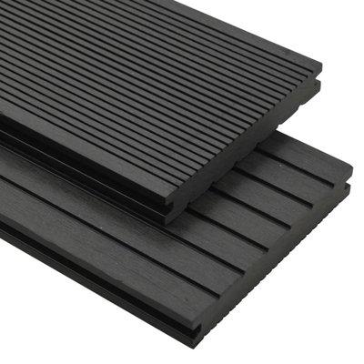 Terrasplanken met accessoires 20 m² 2,2 m massief HKC zwart