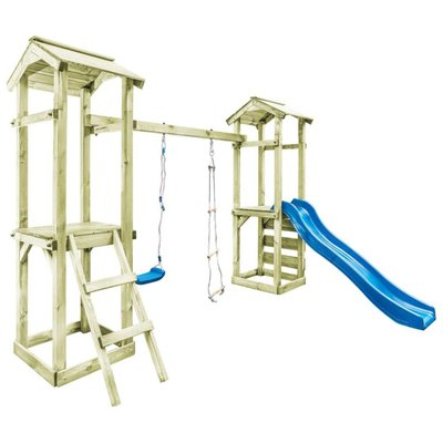 Speelhuis ladder, glijbaan en schommel 300x197x218 cm FSC hout