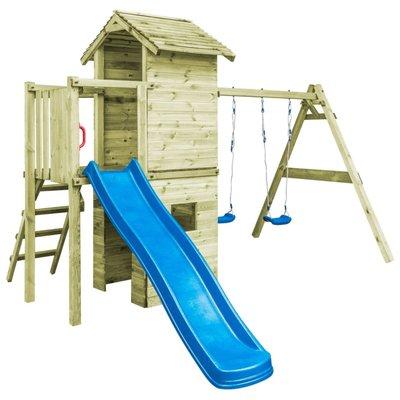 Speelhuis ladder, glijbaan en schommels 390x353x268 cm FSC hout