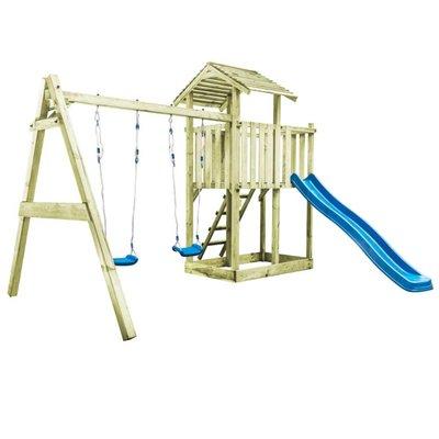 Speelhuis ladder, glijbaan en schommels 385x353x268 cm FSC hout