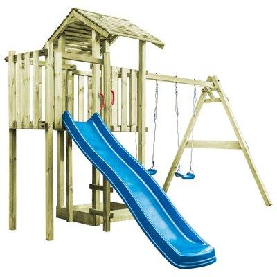 Speelhuis ladder, glijbaan en schommels 407x381x263 cm FSC hout