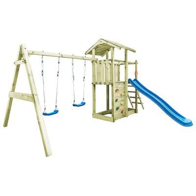 Speelhuis ladder, glijbaan en schommels 471x356x265 cm FSC hout