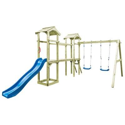 Speelhuis ladder, glijbaan en schommels 252x432x218 cm FSC hout