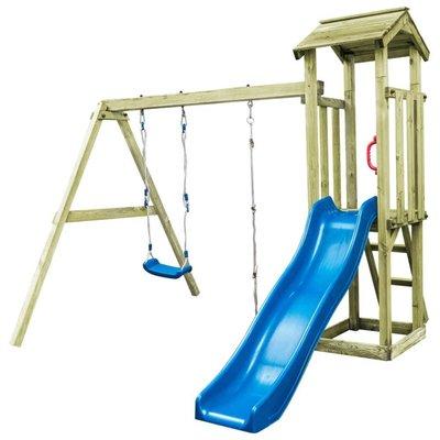 Speelhuis ladder, glijbaan en schommel 251x242x218 cm FSC hout