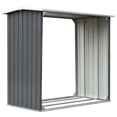 Haardhoutschuur 172x91x154 cm gegalvaniseerd staal grijs