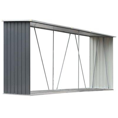 Haardhoutschuur 330x84x152 cm gegalvaniseerd staal grijs
