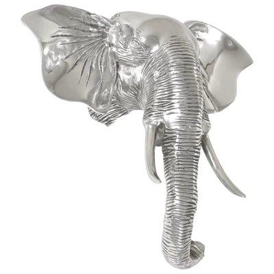 Olifantenkop beeld 38x19x36 cm massief aluminium zilver