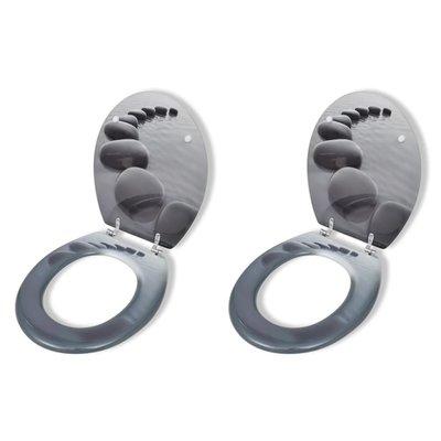 Toiletbril met hard-closedeksel 2 st MDF stenen