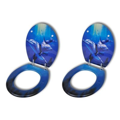 Toiletbril met hard-closedeksel 2 st MDF dolfijn
