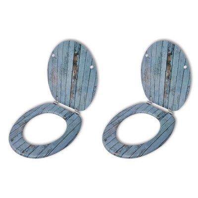 Toiletbril met hard-closedeksel 2 st MDF oud hout