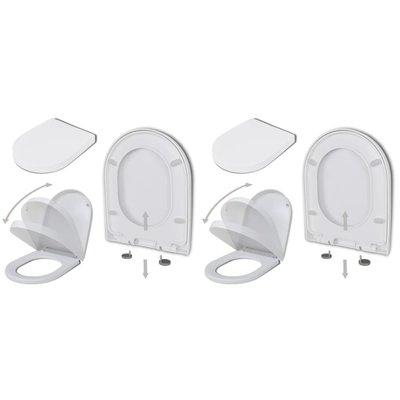 Toiletbril met soft-closedeksel 2 st kunststof wit