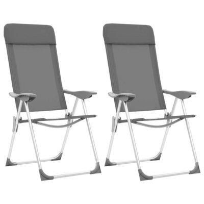 Campingstoelen 2 st inklapbaar aluminium grijs