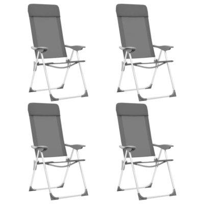 Campingstoelen 4 st inklapbaar aluminium grijs