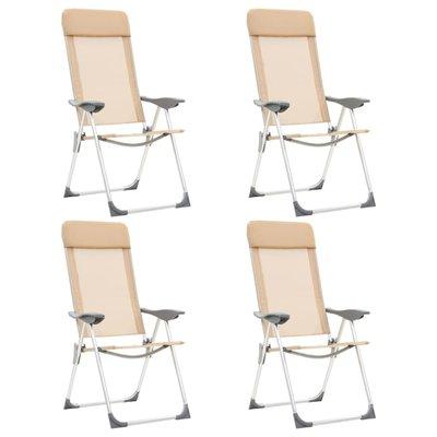 Campingstoelen 4 st inklapbaar aluminium crèmewit
