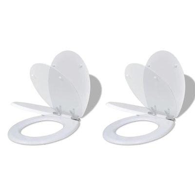 Toiletbril met soft-closedeksel 2 st MDF wit