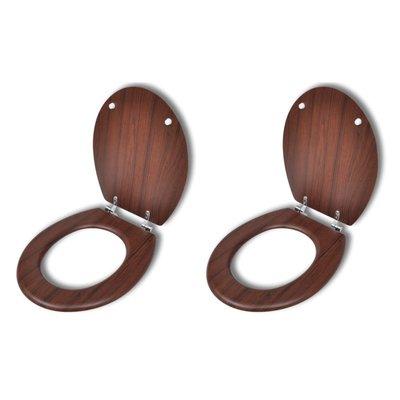Toiletbrillen met hard-close deksel 2 st MDF bruin