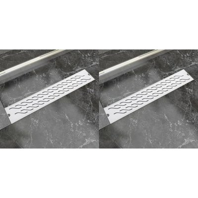 Doucheafvoer 2 st rechthoekig golvend 630x140 mm roestvrij staal