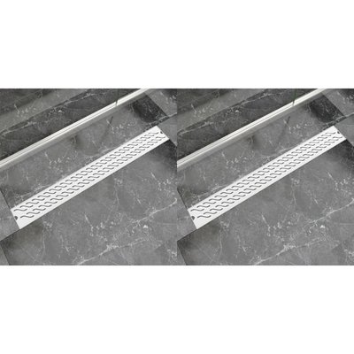 Doucheafvoer 2 st rechthoekig golvend 930x140 mm roestvrij staal