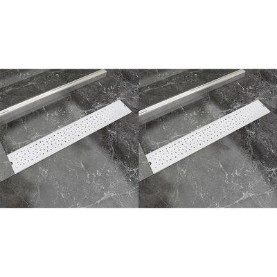 Doucheafvoer 2 st rechthoekig bubbel 730x140 mm roestvrij staal