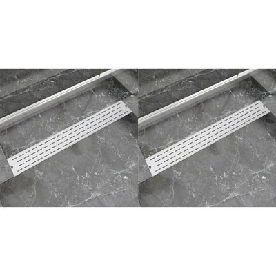 Doucheafvoer 2 st rechthoekig lijn 830x140 mm roestvrij staal