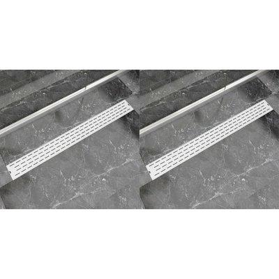 Doucheafvoer 2 st rechthoekig lijn 1030x140 mm roestvrij staal