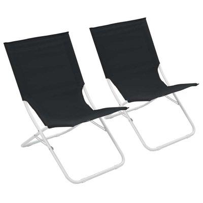 Strandstoelen 2 st inklapbaar zwart