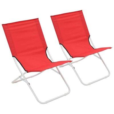 Strandstoelen 2 st inklapbaar rood