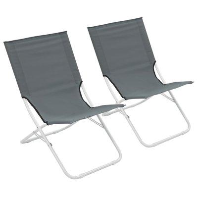 Strandstoelen 2 st inklapbaar grijs