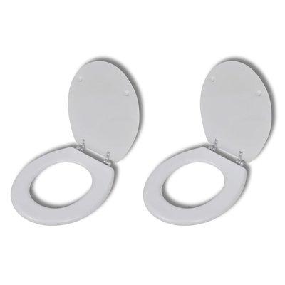 Toiletbrillen met hardclose deksels 2 st MDF wit