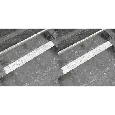 Doucheafvoer 2 st rechthoekig bubbel 930x140 mm roestvrij staal