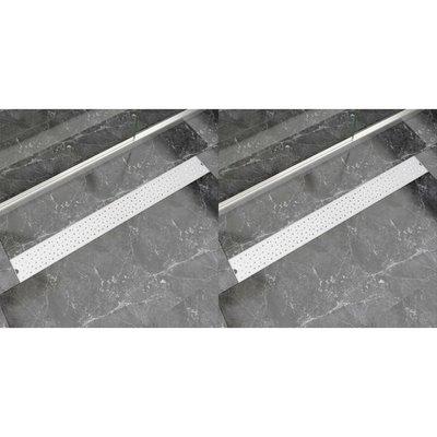 Doucheafvoer 2 st rechthoekig bubbel 1030x140mm roestvrij staal