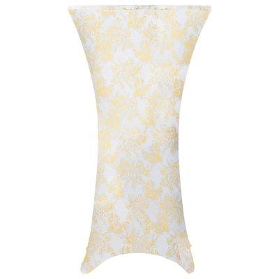 2 st Tafelhoezen stretch 60 cm wit met gouden opdruk