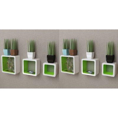 Wandplanken kubus 6 st wit en groen