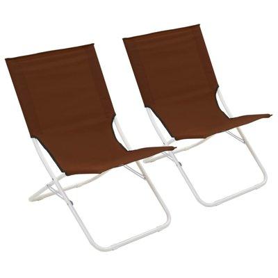 Strandstoelen inklapbaar 2 st bruin