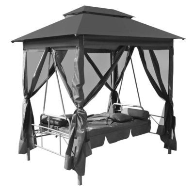 Tuinschommelstoel met luifel 220x160x240 cm staal antraciet