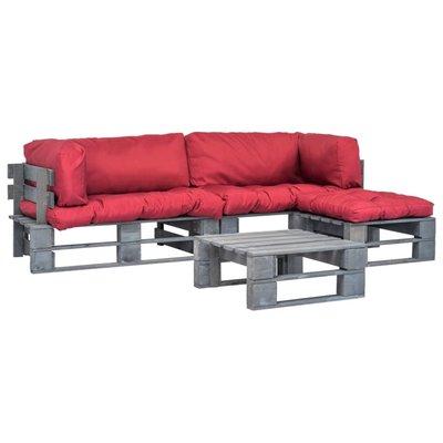 Pallet tuinbankenset met rode kussens 4-delig FSC hout grijs