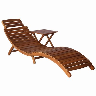 Ligbed met tafel massief acaciahout bruin